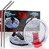 2 SPLASH PROOF lids for 30 oz tumblers + 2 BONUS steel straws, 100% ...